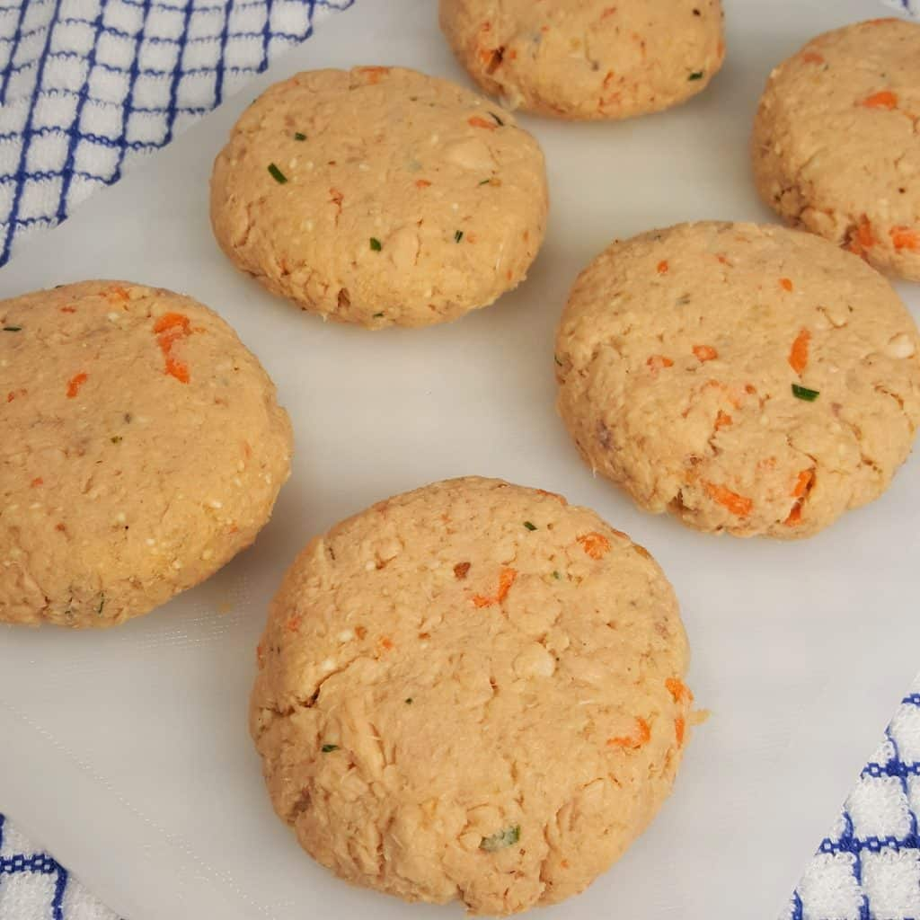 Form Salmon Mixture into Patties 3 inches by 3/4 inches thick