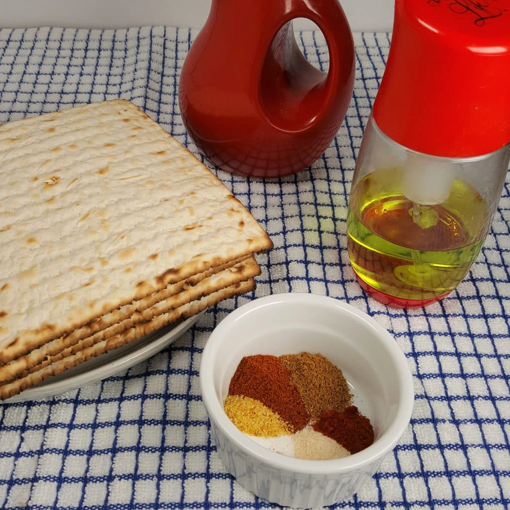Cast of Ingredients for Air Fryer Passover Matzo Taco Chips