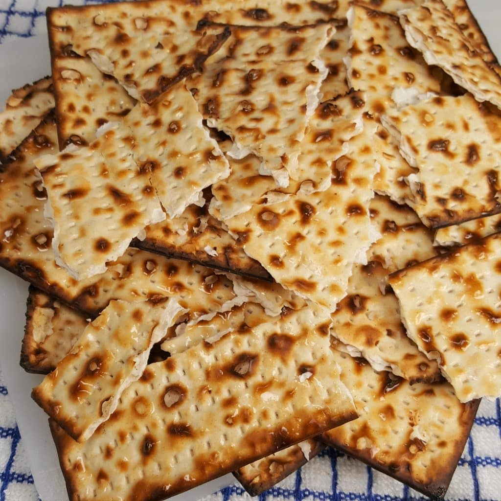Break Matzo into Tortilla Chips Size