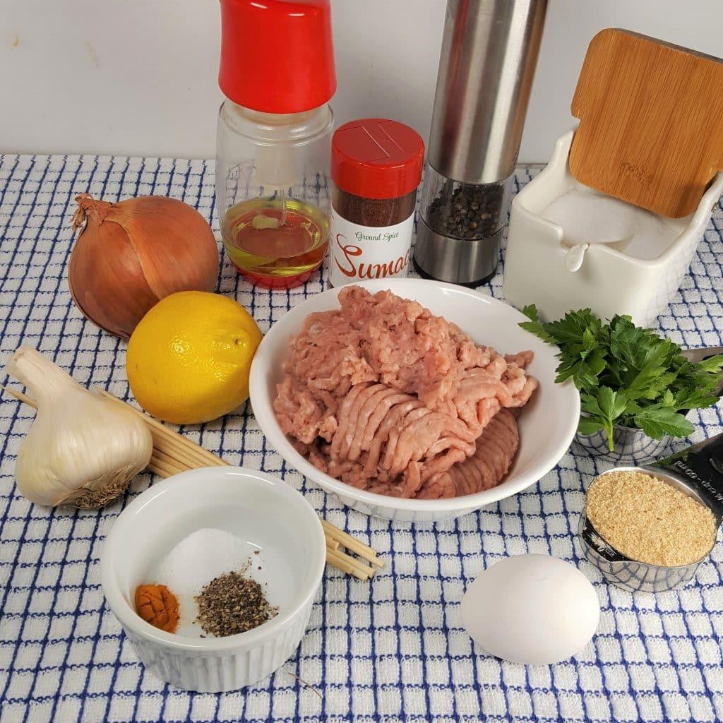 Cast of Ingredients for Air Fryer Persian Kabab Koobiah Turkey