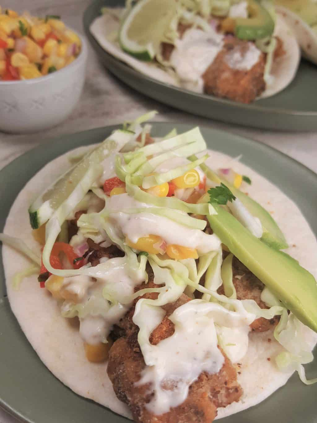 Air Fryer Baja Fish Tacos