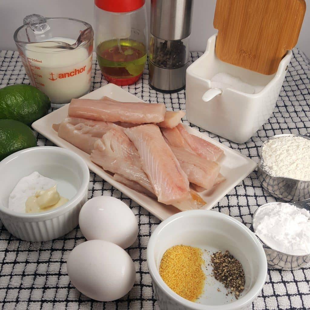 Cast of Ingredients for Air Fryer Baja Fish Tacos with Mahi Mahi