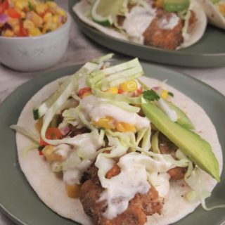 Air Fryer Baja Fish Tacos with White Sauce