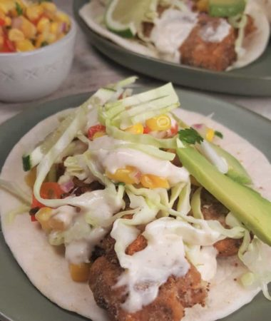 Air Fryer Baja Fish Tacos with Corn Salsa