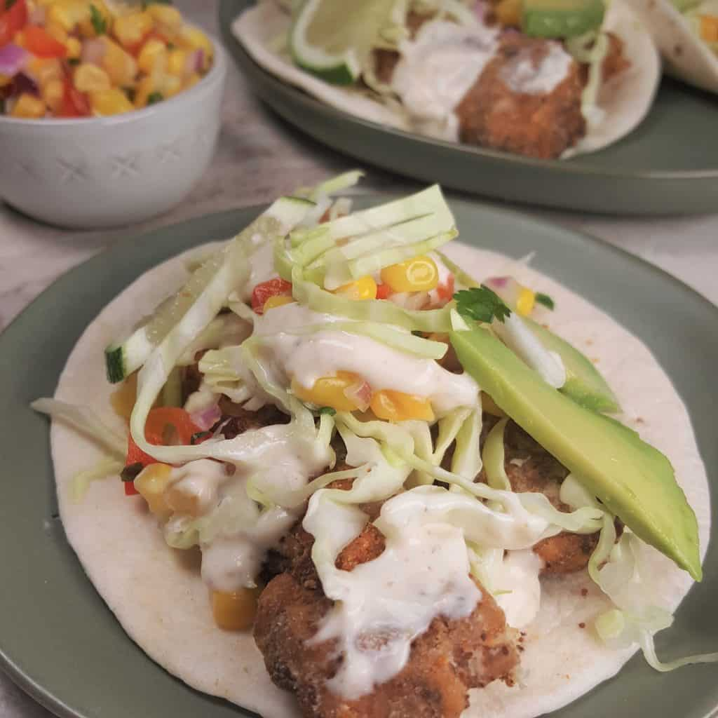 Air fryer baja fish tacos with white sauce this old gal for Sides for fish tacos