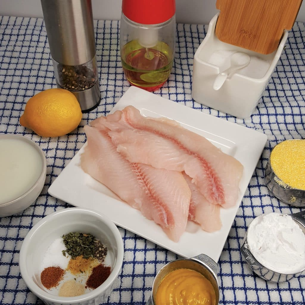 Cast of Ingredients for Air Fryer Southern Fried Catfish