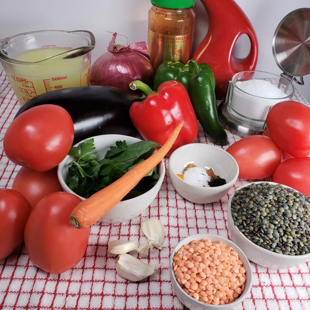 Cast of Ingredients for Pressure Cooker Armenian Lentil Soup