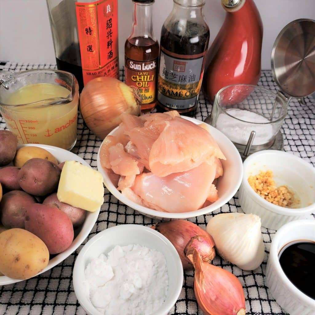 Cast of Ingredients for Pressure Cooker Braised Chicken & Creamy Potatoes