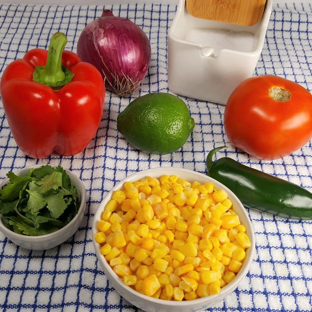 Cast of Ingredients for Simple Corn Salsa Recipe