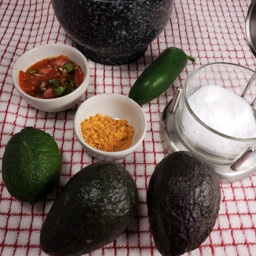 Cast of Ingredients for This Old Gal's Simple Guacamole Recipe