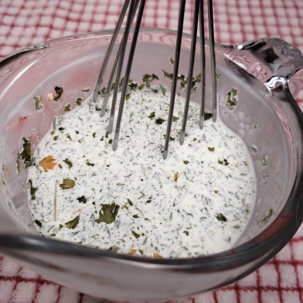 Whisk together the Creamy Garlic Sauce