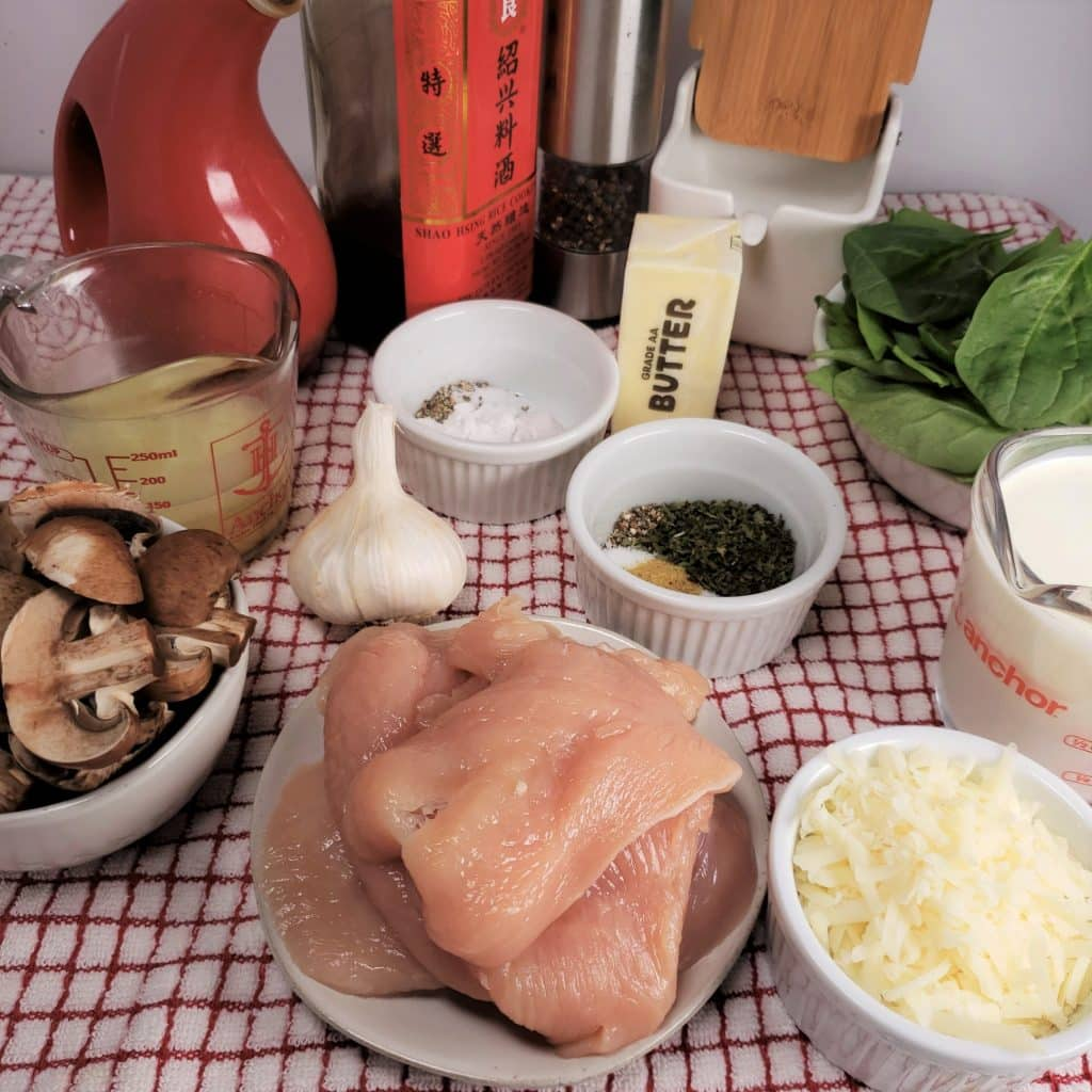 Cast of Ingredients for Instant Pot Creamy Parmesan Garlic Mushroom Chicken