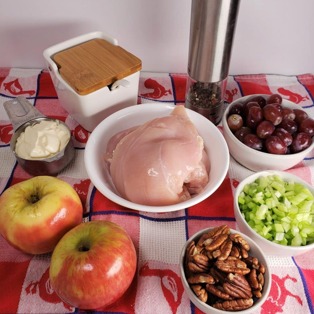 Cast of Ingredients for Pecan Chicken Salad