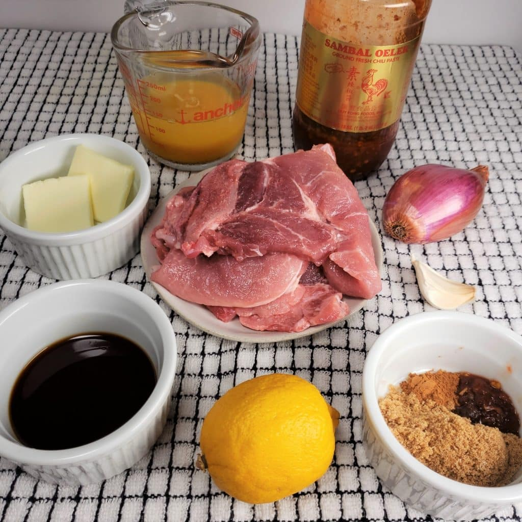 Cast of Ingredients for Pressure Cooker Orange Glazed Pork Chops