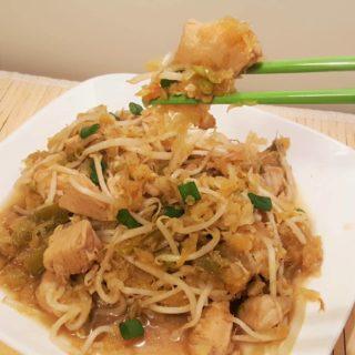 Pressure Cooker Spaghetti Squash Chicken Chow Mein