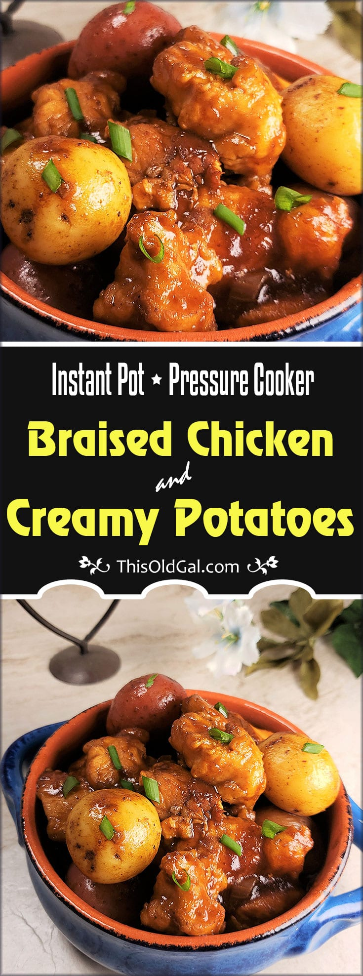 Instant Pot Pressure Cooker Braised Chicken & Creamy Potatoes