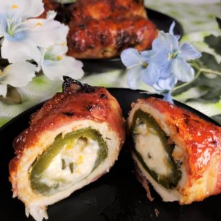 Air Fryer Bacon Wrapped Chicken Jalapeño Poppers