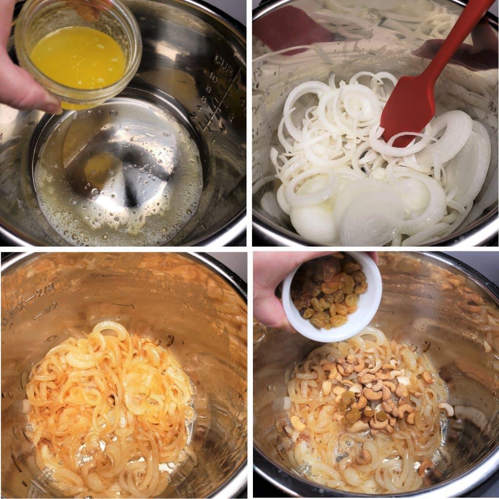 Caramelize Onions, Cashews & Raisins
