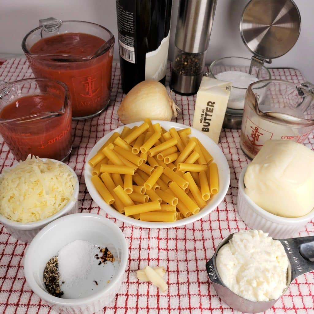 Cast of Ingredients for Pressure Cooker Creamy Baked Ziti