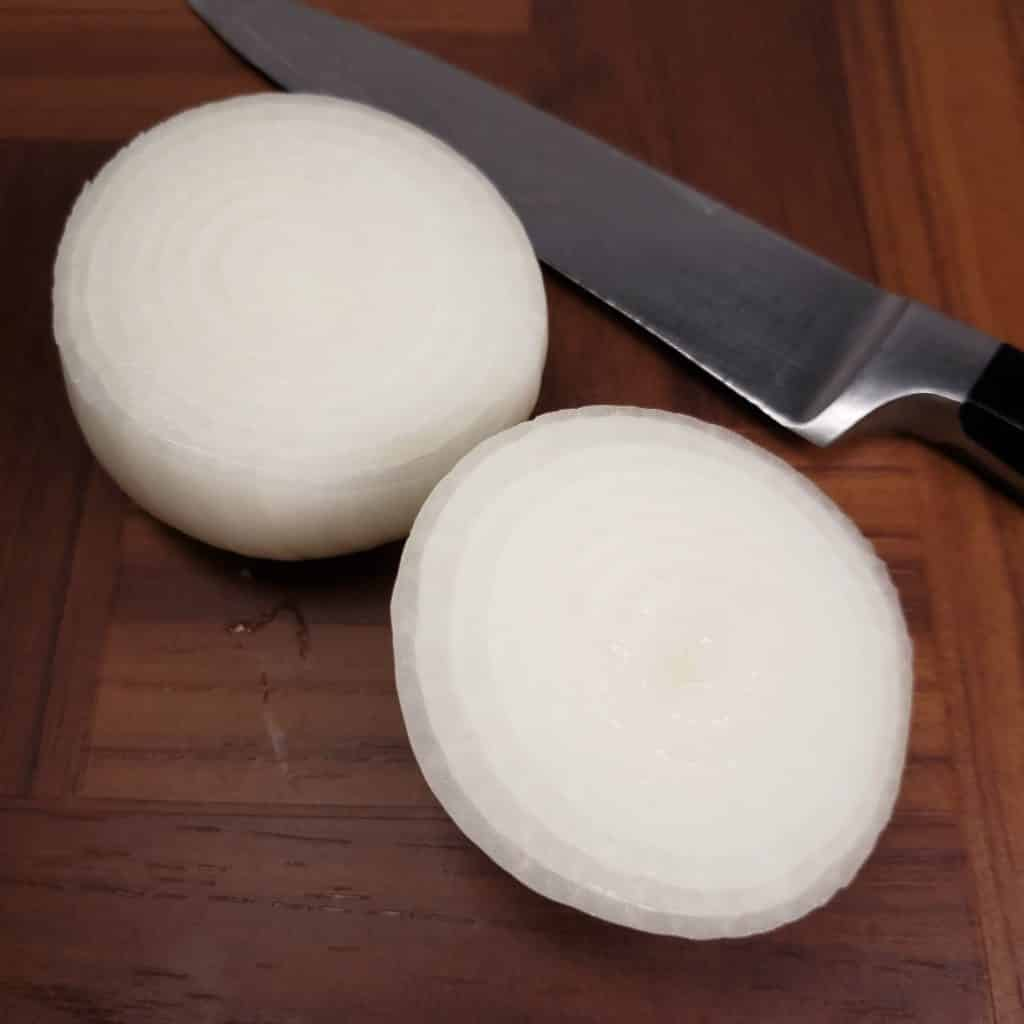 Peel and Cut Onion in Half