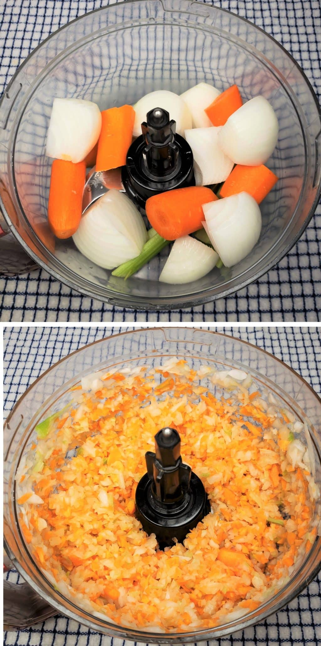Carrots, Onions, Celery in Food Processor