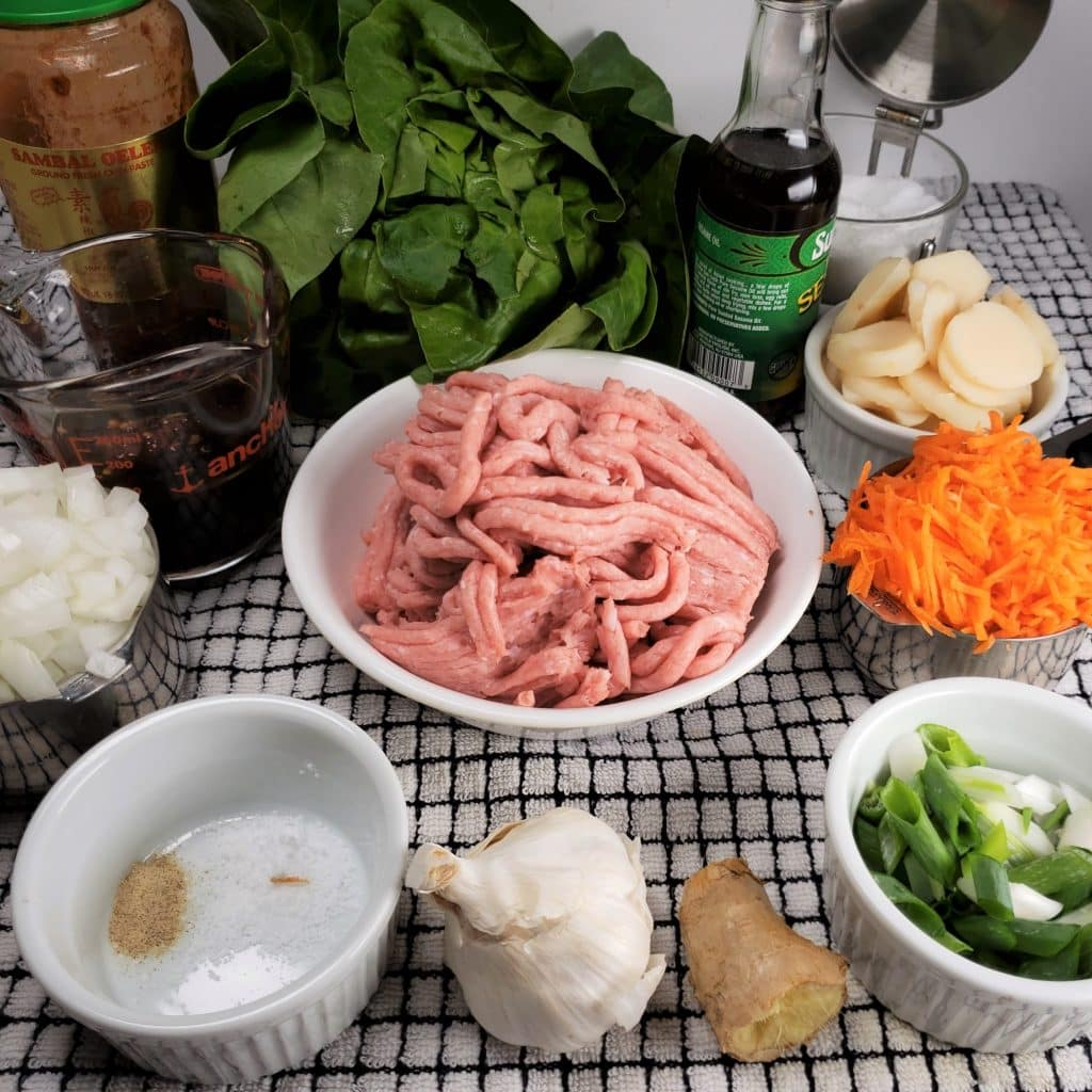 Cast of Ingredients for Instant Pot Chicken Lettuce Wraps
