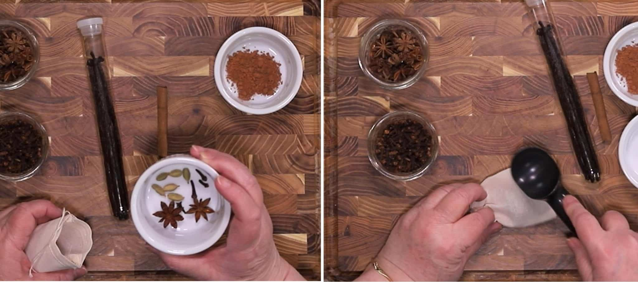 Add Spices to Small Spice Pouch & Crush