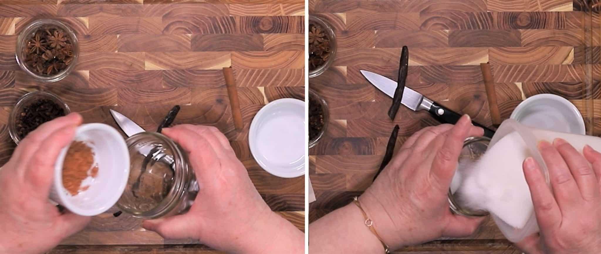 Add Cocoa and Sugar to Mason Jar