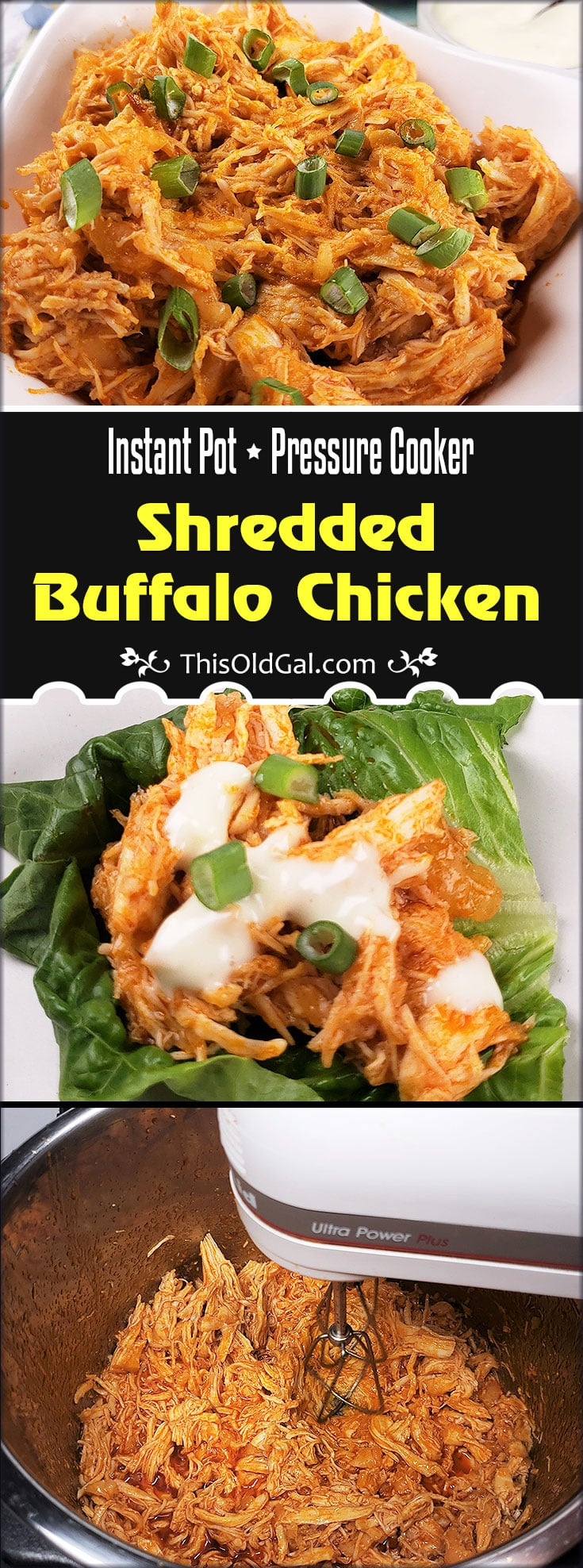 Low Carb Pressure Cooker Shredded Buffalo Chicken