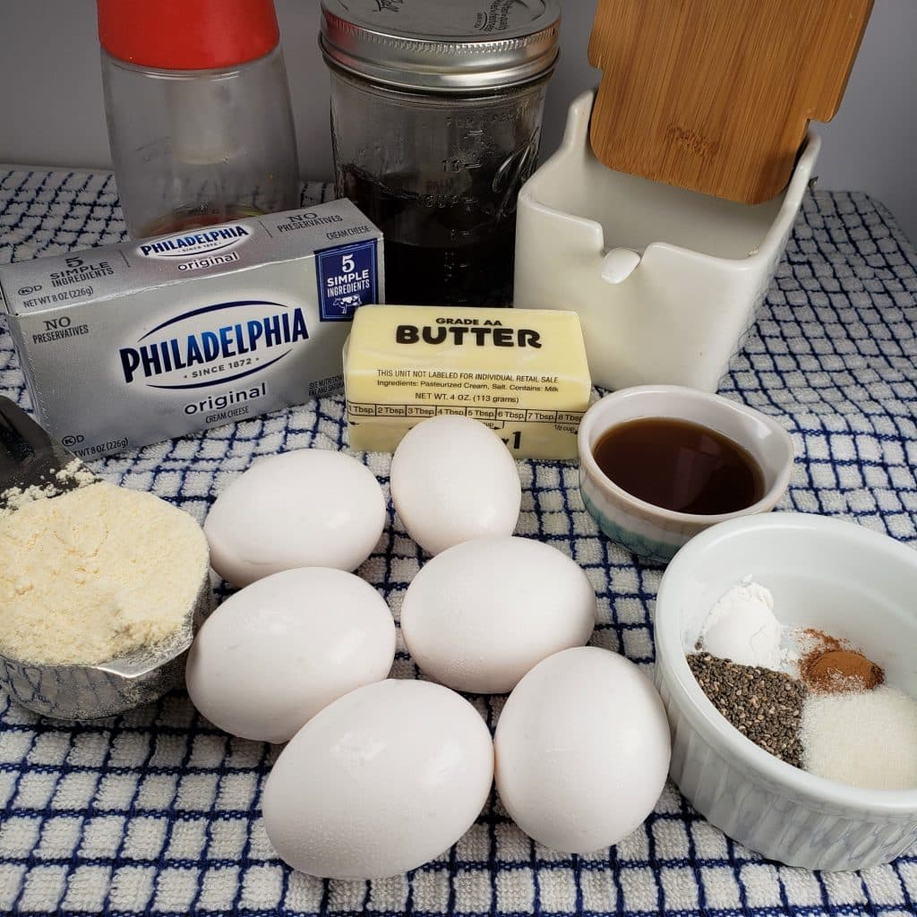 Cast of Ingredients for Low Carb Belgian Waffles