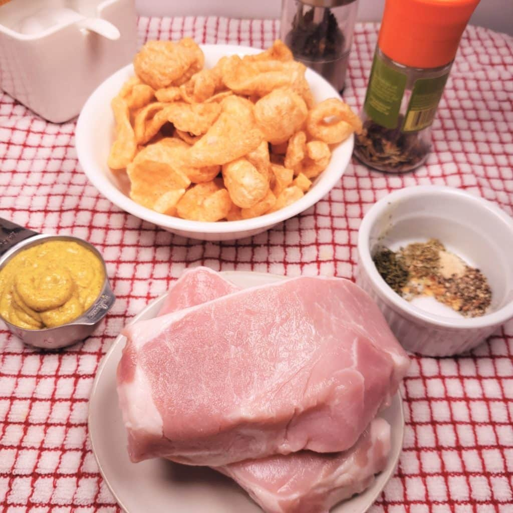 Cast of Ingredients for Low Carb Breaded Pork Chops