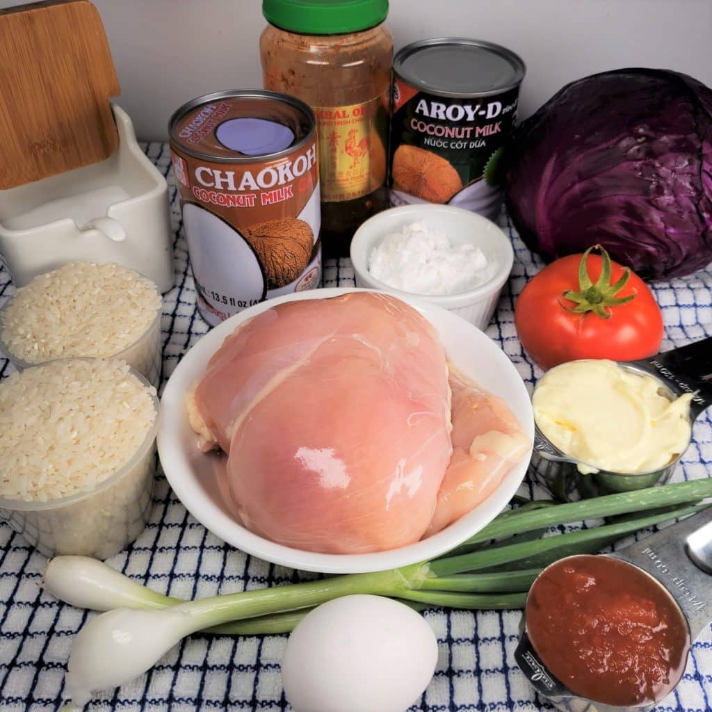 Cast of Ingredients for Instant Pot Bang Bang Chicken