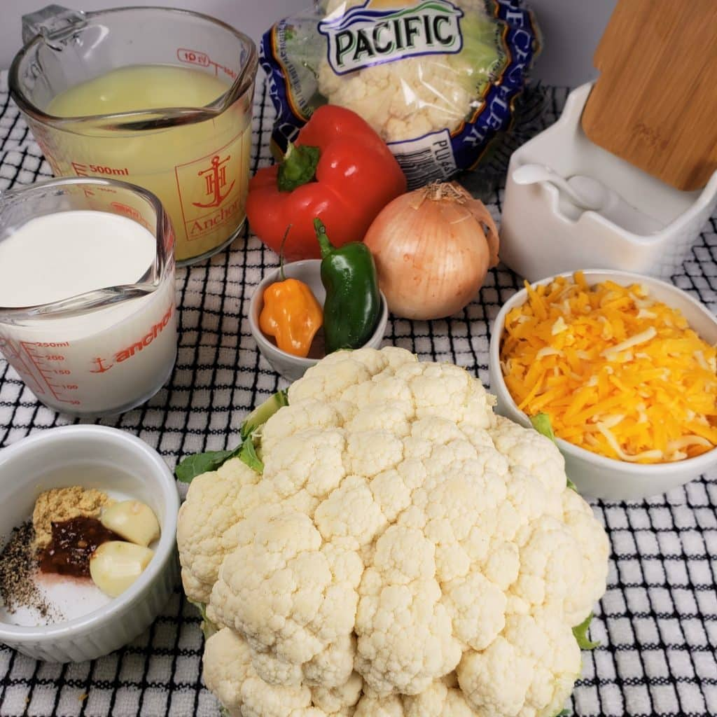 Cast of Ingredients for Pressure Cooker Low Carb Cheesy Cauliflower Soup