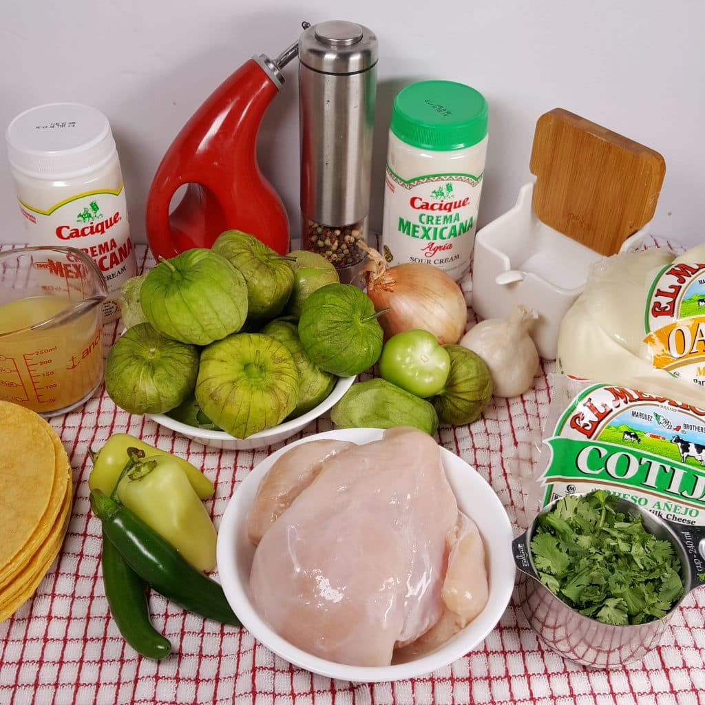 Cast of Ingredients for Pressure Cooker Chicken Enchiladas Suizas