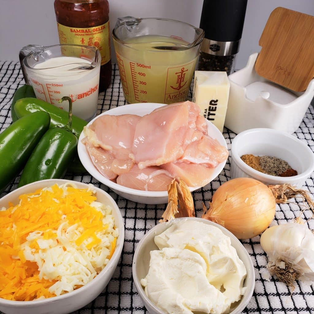 Cast of Ingredients for Pressure Cooker Chicken Jalapeno Popper Soup