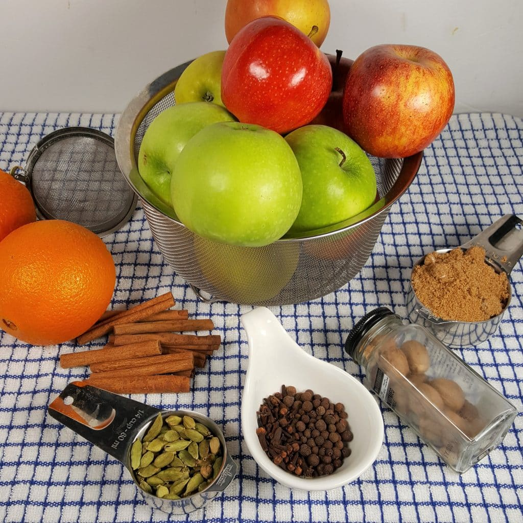 Cast of Ingredients for Pressure Cooker Hot Wassail