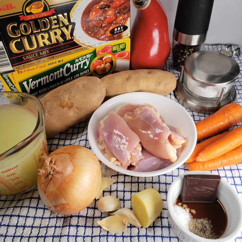 Cast of Ingredients for Pressure Cooker Japanese Chicken Curry