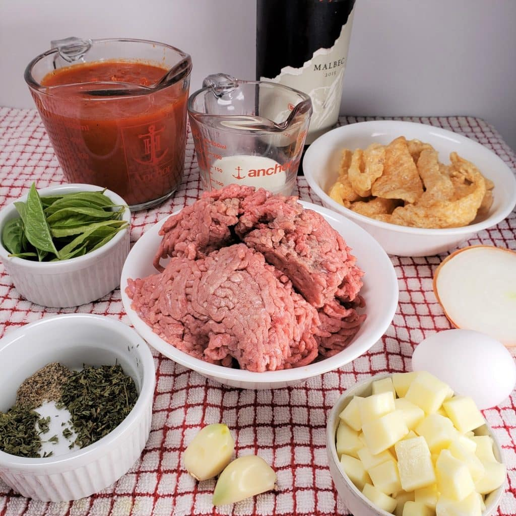 Cast of Ingredients for Pressure Cooker Low Carb Margherita Pizza Meatballs