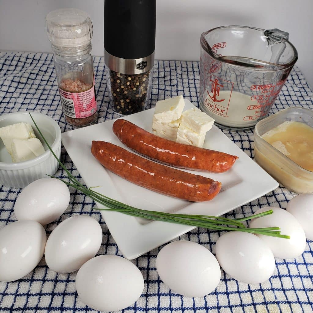 Cast of Ingredients for Sausage Feta Eggs Breakfast Scramble