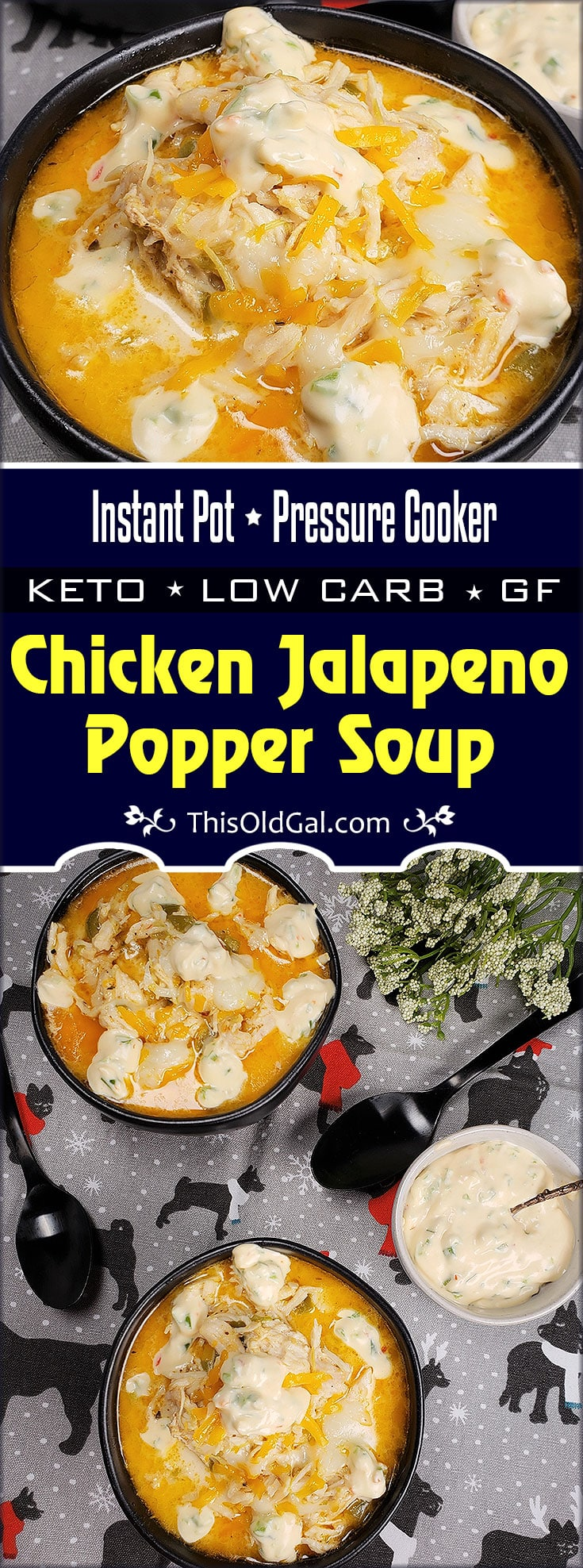 Pressure Cooker Chicken Jalapeno Popper Soup ~ Low Carb/Keto