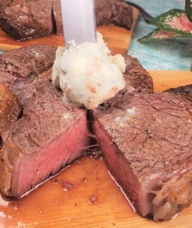 Air Fryer Rib Eye Steak with Blue Cheese Topper
