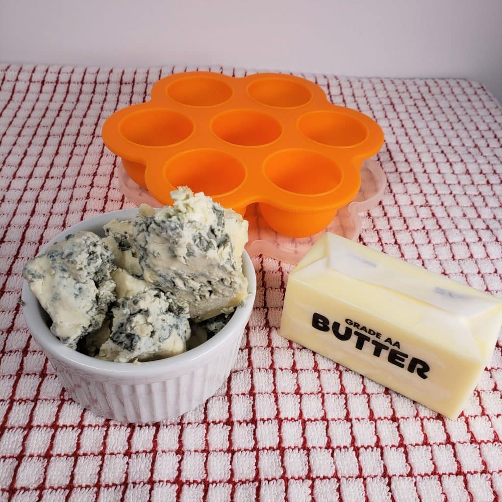Cast of Ingredients for Blue Cheese Butter Steak Topper