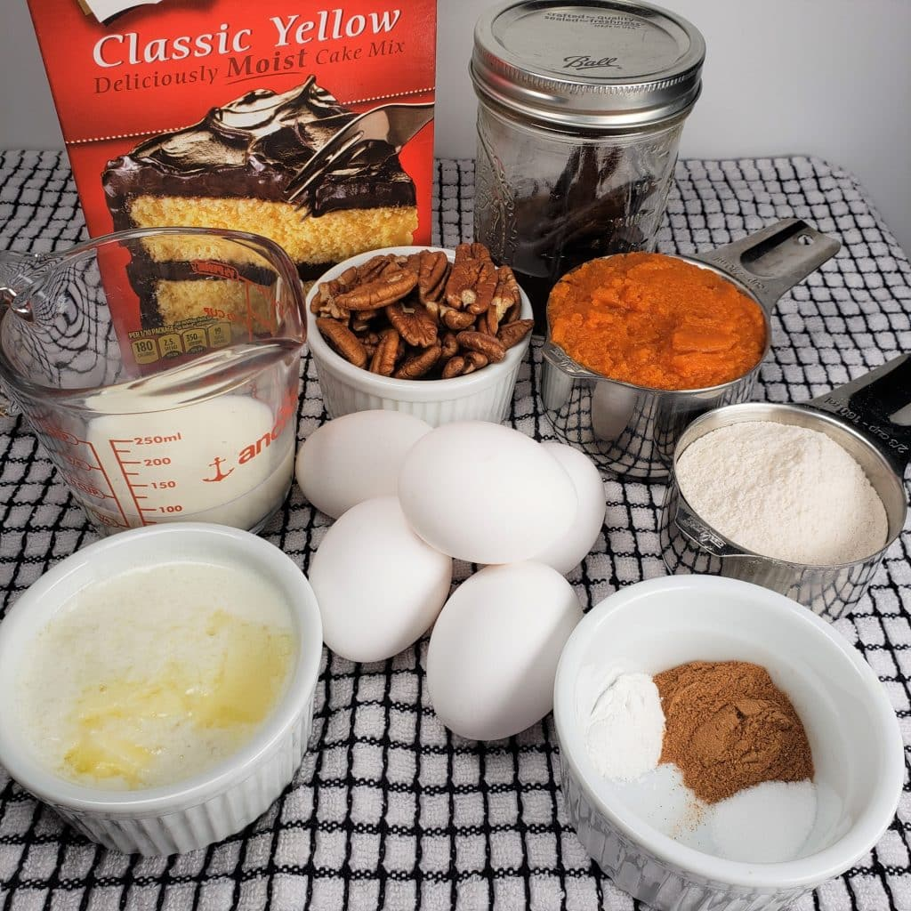 Cast of Ingredients for Instant Pot Pumpkin Butterscotch Bundt Cake
