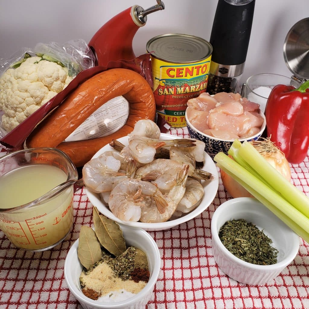 Cast of Ingredients for Pressure Cooker Low Carb New Orleans Jambalaya
