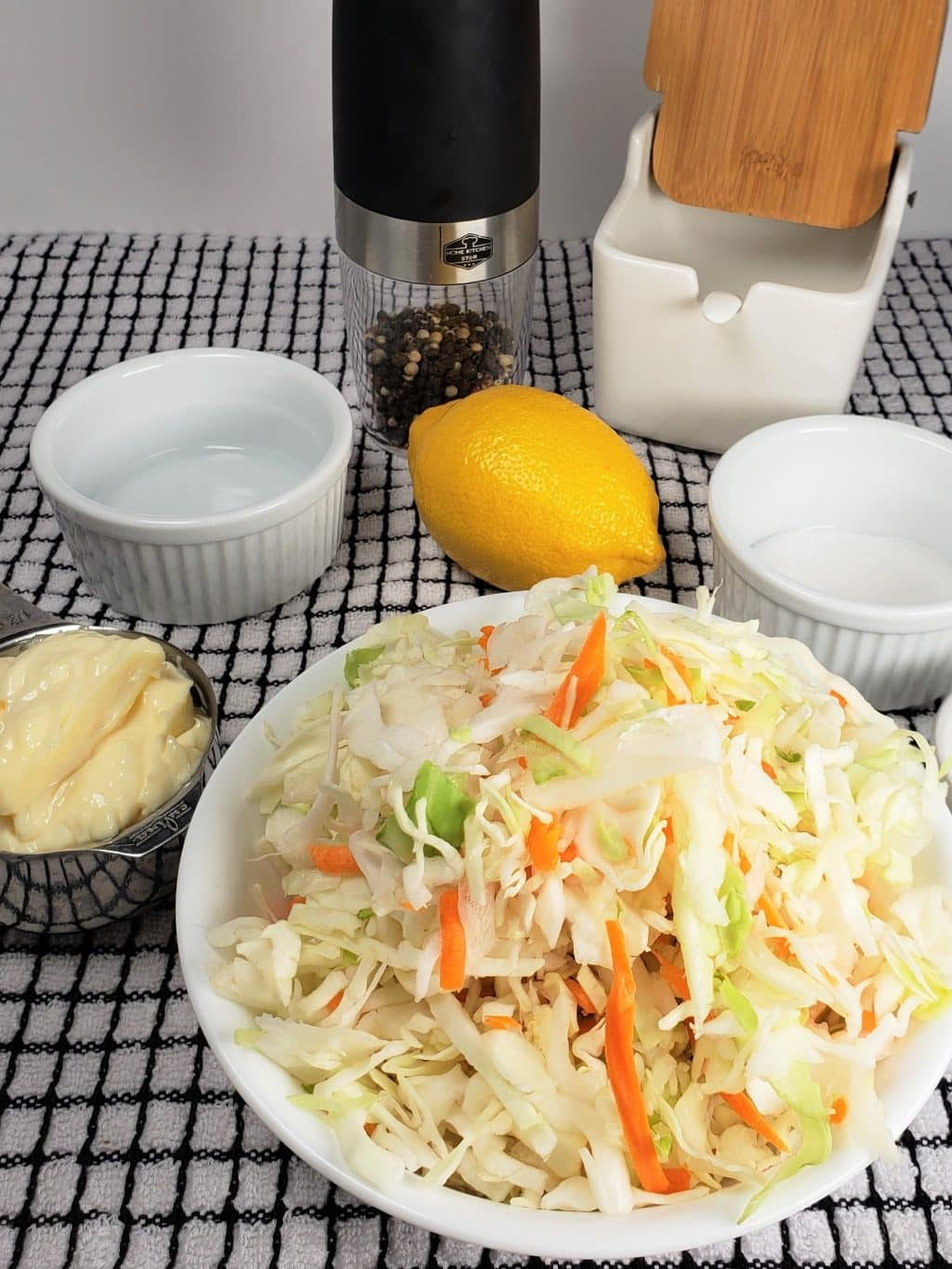 Cast of Ingredients for Easy Coleslaw