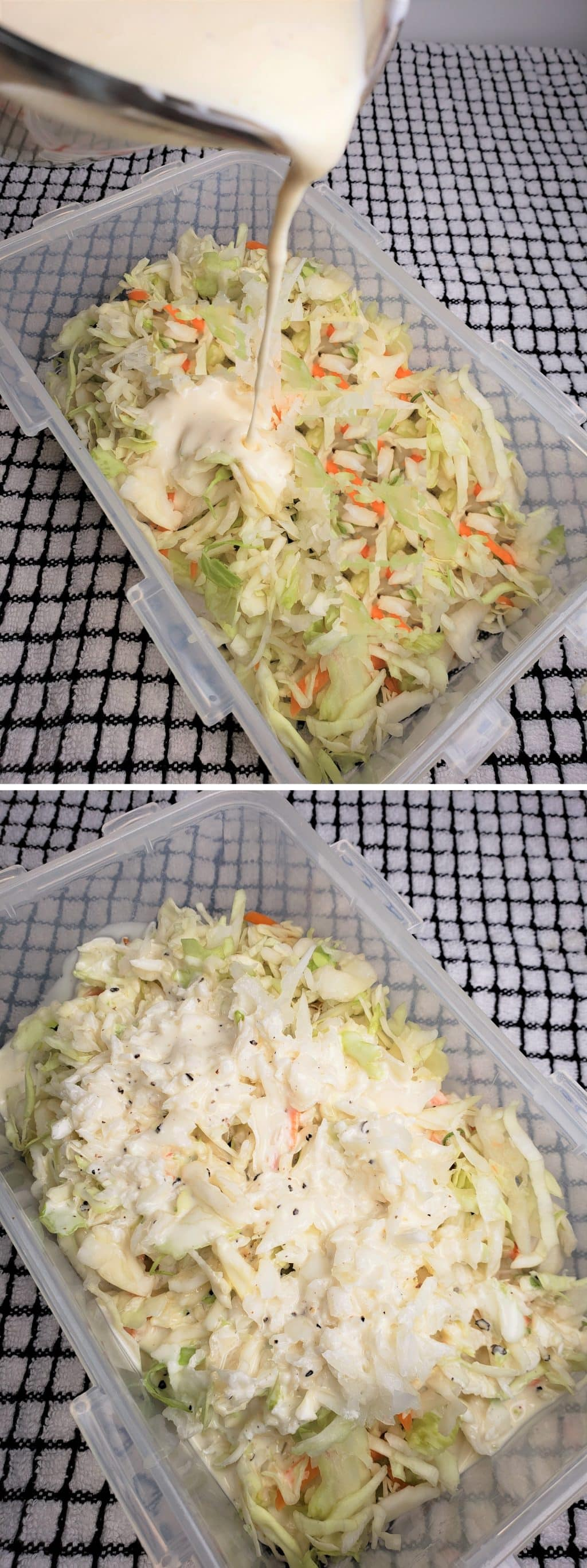 Mix Dressing with Coleslaw
