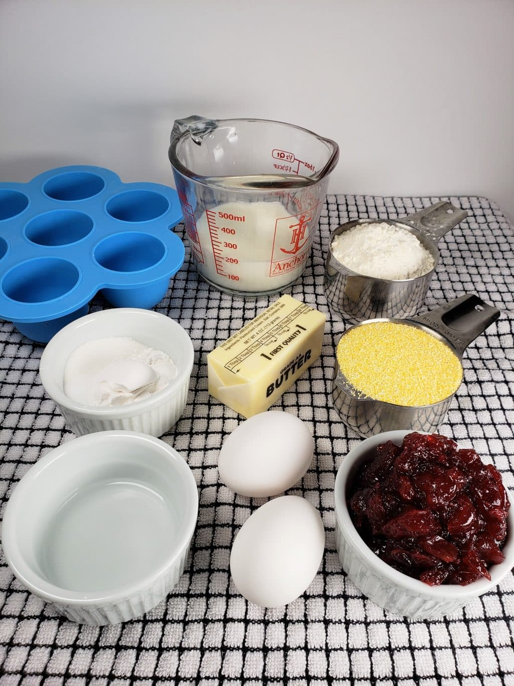 Cast of Ingredients for Instant Pot Cranberry Cornbread Bites