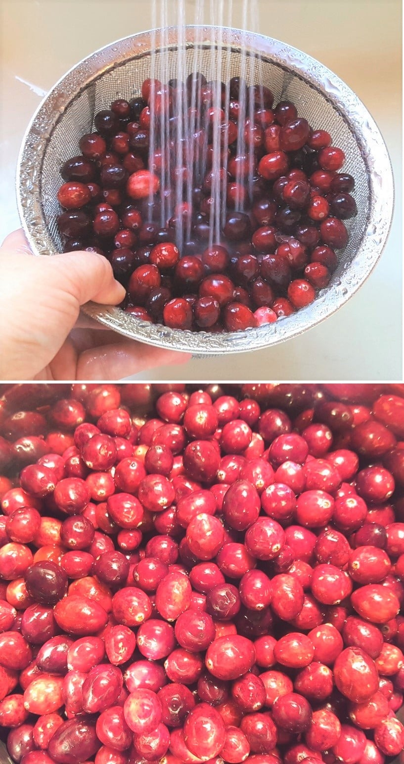 Wash and Pick Over Cranberries