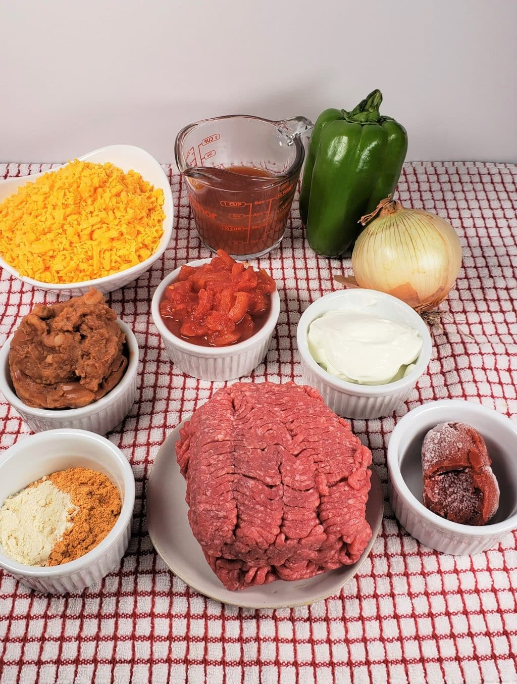 Cast of Ingredients for Instant Pot Taco Sloppy Joes