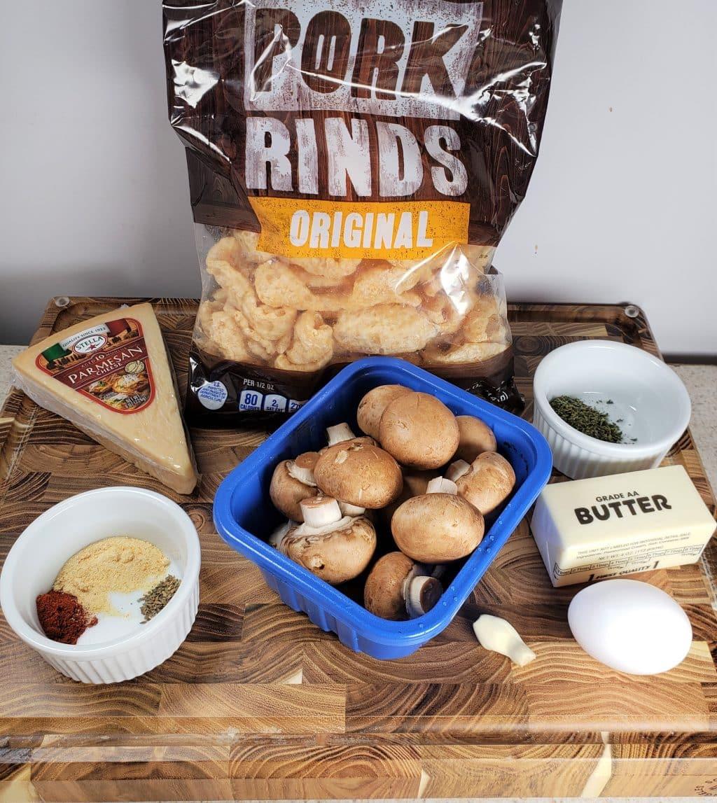 Cast of Ingredients for Air Fryer Garlic MushroomsCast of Ingredients for Air Fryer Garlic Mushrooms